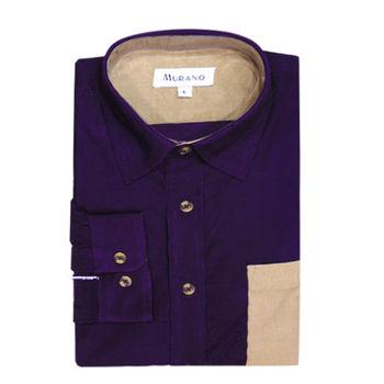 【MURANO】男款休閒撞色燈芯絨長袖襯衫 - 紫 / 卡其