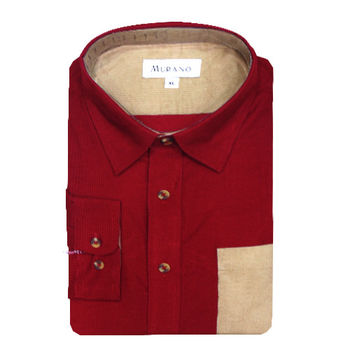 【MURANO】男款休閒撞色燈芯絨長袖襯衫 - 紅 / 卡其