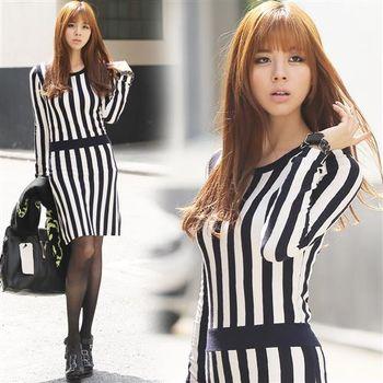 Pink東大門 -正韓 直條紋顯瘦長袖洋裝(黑)