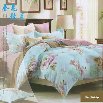 【韋恩寢具】純棉兩用被鋪棉床包組-雙人加大/春花秋月