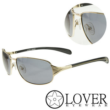 【Lover】精品長方金屬框藍色太陽眼鏡(9107-C01)