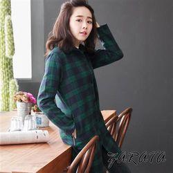 翻領蘇格蘭紋開襟式排釦長版襯衫(綠東深購物色)