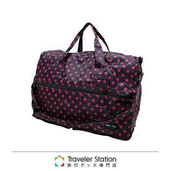 《Traveler Station》HAPI+TAS 摺疊圓形旅行袋(小)新款-166黑底粉紅圓點