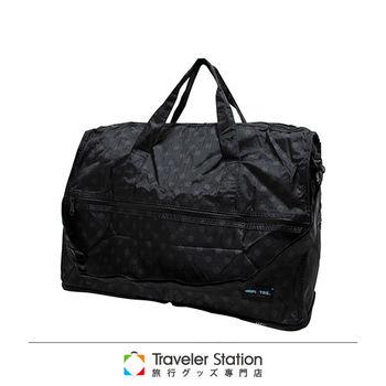 《Traveler Station》HAPI+TAS 摺疊圓形旅行袋(小)新款-165黑底灰圓點