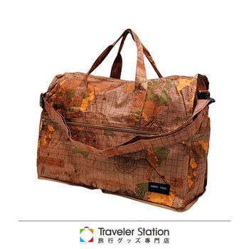 《Traveler Station》HAPI+TAS 摺疊圓形旅行袋(小)新款-160米色世界地圖