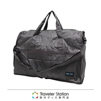 《Traveler Station》HAPI+TAS 摺疊圓形旅行袋(小)新款-158男版咖啡千鳥紋