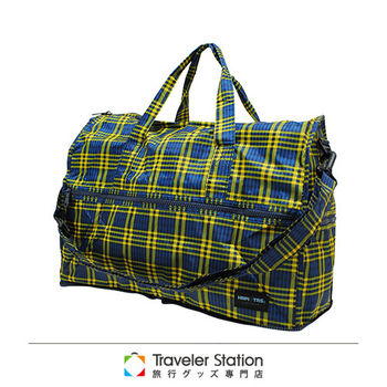 《Traveler Station》HAPI+TAS 摺疊圓形旅行袋(小)新款-139男版蘇格藍黃