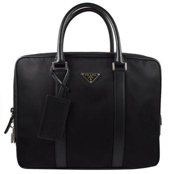 PRADA 2VE661 經典LOGO尼龍帆布皮飾邊附鎖組手提包.黑