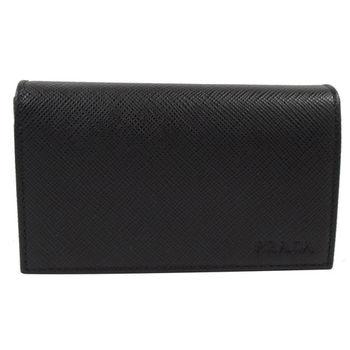 PRADA 2MC122 經典LOGO烙印防刮皮革名片夾/零錢包.黑