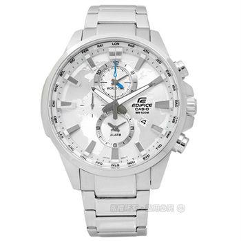 EDIFICE CASIO / EFR-303D-7A 卡西歐穿梭立體世界日期不鏽鋼腕錶 銀x藍 46mm