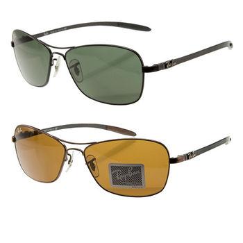 【Ray Ban 雷朋】碳纖維斯文方形全框太陽眼鏡(RB8302 兩款)