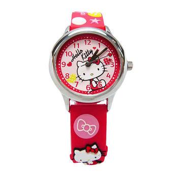 Hello Kitty 可愛的俏皮寶貝時尚造型腕錶-紅色-KT013LWRR-A