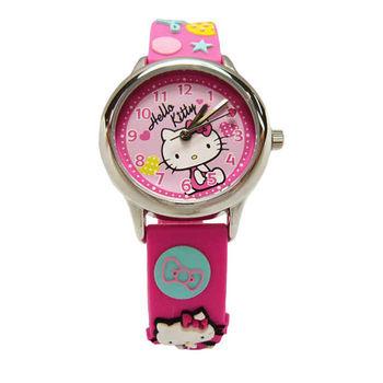 Hello Kitty 可愛的俏皮寶貝時尚造型腕錶-粉紅色-KT013LWPP-A