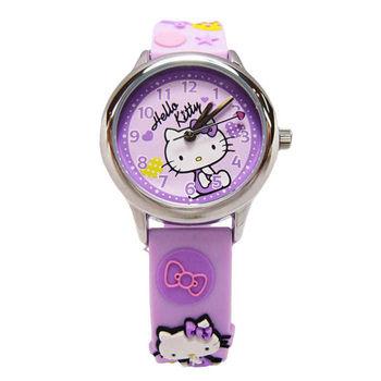Hello Kitty 可愛的俏皮寶貝時尚造型腕錶-紫色-KT013LWVV-A