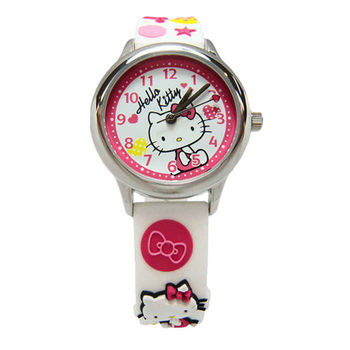 Hello Kitty 可愛的俏皮寶貝時尚造型腕錶-白色-KT013LWWW-A