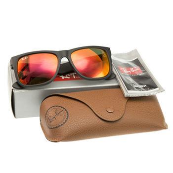 【Ray Ban】JUSTIN-方形水銀橘色霧黑框太陽眼鏡(RB4165-622/6Q)