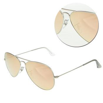 【Ray Ban】AVIATOR LARGE METAL-飛官款 水銀粉色銀框太陽眼鏡(RB3025-019/Z2)