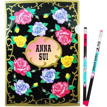 任-ANNA SUI 安娜蘇 經典薔薇文件夾+DOLLY GIRL鉛筆組