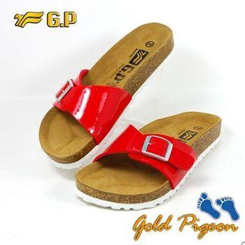 【G.P 休閒個性柏肯鞋】W751-40 紅色 (SIZE:35-39 共二色)