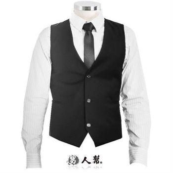 【男人幫】W0131*尺碼齊全【型男素面百搭款修身西裝開襟背心】商務休閒百搭