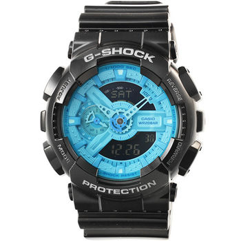 CASIO 卡西歐G-SHOCK 雙顯鬧鈴電子錶-黑藍 / GA-110B-1A2