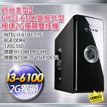 【微星平台】時尚美型(i3-6100-3.7G/H110M PRO-VH/微星 N730K-2G獨顯/8G DDR4/120G SSD)極速獨顯雙核機