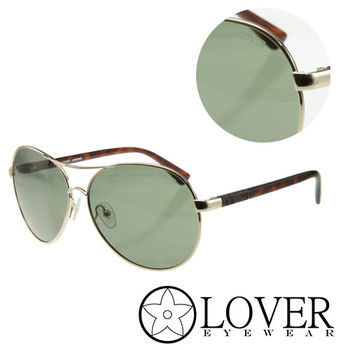 【Lover】精品圓形墨綠金屬太陽眼鏡(9313-C01)
