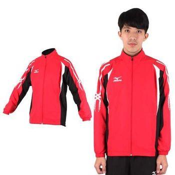 【MIZUNO】男平織內裡透氣網布運動外套- 風衣外套 防風 立領 美津濃 紅黑白