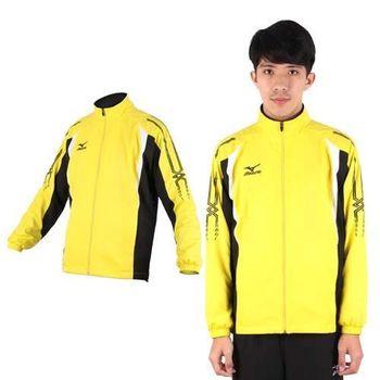 【MIZUNO】男平織內裡透氣網布運動外套- 風衣外套 防風 立領 美津濃 黃黑