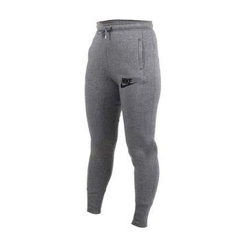 【NIKE】女腰帶束繩設計運動長褲- 針織 棉褲 縮口褲 灰黑