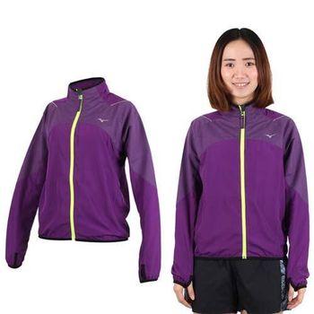 【MIZUNO】女立領路跑風衣袖口穿指外套- 防風 慢跑 美津濃 深紫螢光黃