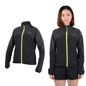 【MIZUNO】女立領路跑袖口穿指風衣外套- 防風 慢跑 美津濃 黑螢光黃
