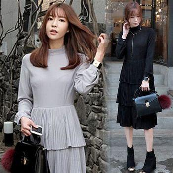 Pink東大門-正韓 中低領百摺三層次裙擺洋裝(共二色)
