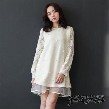 【ZARATA】圓領珍珠簍空透膚袖蕾絲層次洋裝(白色)