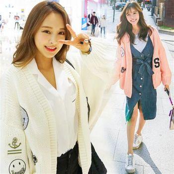 Pink東大門 -正韓 美式插圖徽章針織開衫外套(共二色)