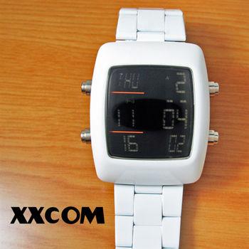 XXcom科技感方形鋼帶多功能電子錶