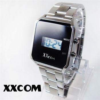 XXcom科技感極黑亮面方形鋼帶電子錶