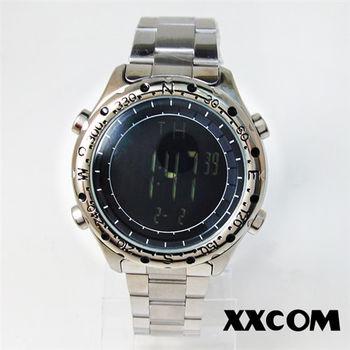 XXcom極黑數字刻紋鋼帶電子錶