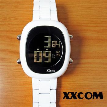 XXcom時尚白金鋼帶電子錶