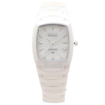 【OMAX】酒桶型典雅亮麗陶瓷女錶(白色)