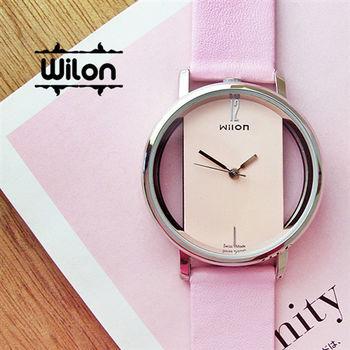 Wilon時尚鏤空錶面環狀皮革錶