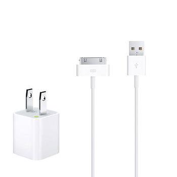 Apple iPhone/iPad 原廠5W USB 旅行充電器+30 pin 對 USB 連接線組 (1公尺) (綠標-裸裝)