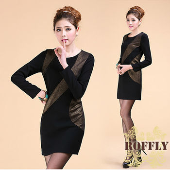 【ROFFLY蘿芙莉】現貨+預購-9A15B12-氣質復古奢華燙鑽金線長袖針織洋裝