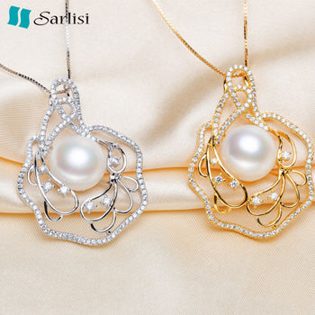 【Sarlisi】11-12 mm珍愛永恆晶鑽珍珠項鍊(銀色)