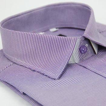 【金安德森】紫色千鳥紋窄版長袖襯衫
