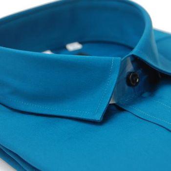 【金安德森】藍綠色小方領純棉長袖襯衫