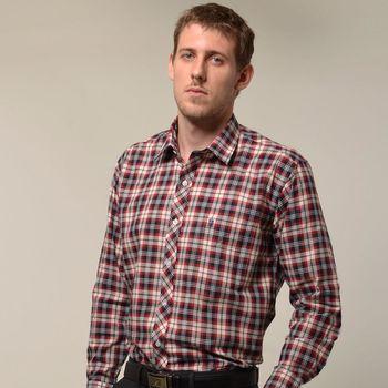【金安德森】紅藍白經典格紋長袖襯衫