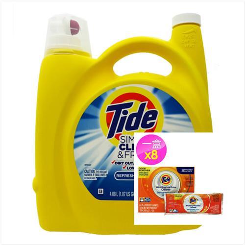 【美國 Tide】濃縮洗衣膏-清新微風(138oz/4080ml)*1+洗衣槽洗潔劑(75g*8/盒)