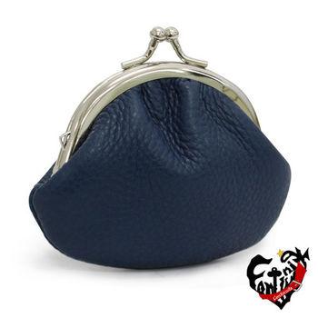 【Continuita 康緹尼】 台灣手工真皮包 MIT 珠扣小圓框零錢包 (藍色)