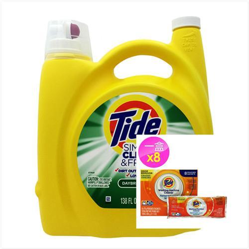【美國 Tide】濃縮洗衣膏-清新柑橘(138oz/4080ml)*1+洗衣槽洗潔劑(75g*8/盒)